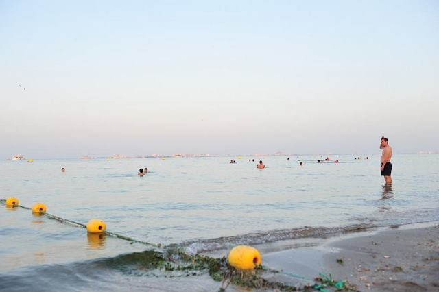 Jellyfish nets laid in Mar Menor ready for summer.