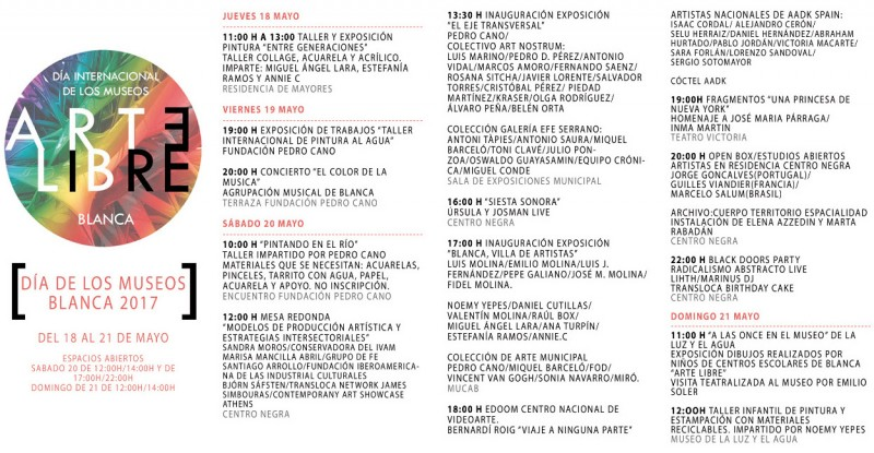 18th to 21st May Museums day activities in Blanca