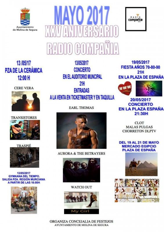 19th and 20th free concerts in Molina de Segura for 25th anniversary of Radio Compañia