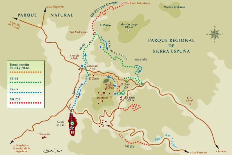 Sierra Espuña walking routes, the PR-MU 64 starting and finishing in La Santa in Totana