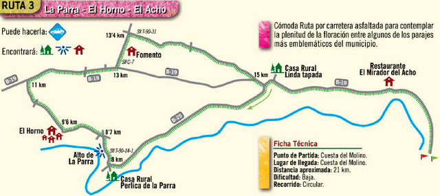 Driving route of Cieza to see La Floración