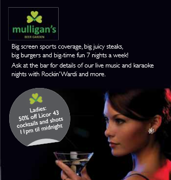 Half price cocktails for ladies at Mulligans Bar La Manga Club