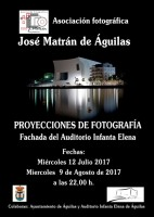 Wednesday 9th August photographic projection of images onto Aguilas auditorium