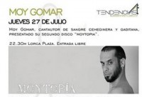 27th July, free concert by Moy Gomar in Lorca