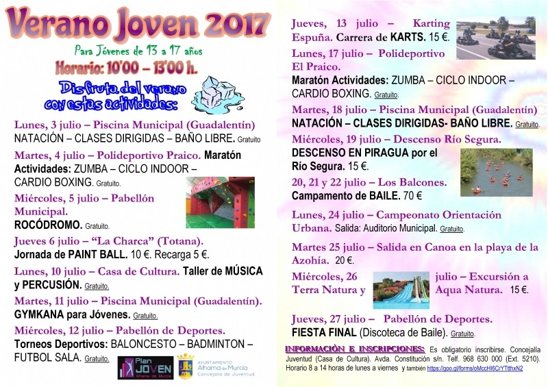 Until 27th July, activities for teenagers in Alhama de Murcia