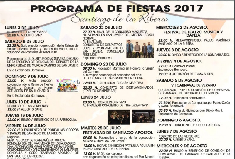 13th to 31st July Fiestas of Santiago in Santiago de la Ribera, San Javier