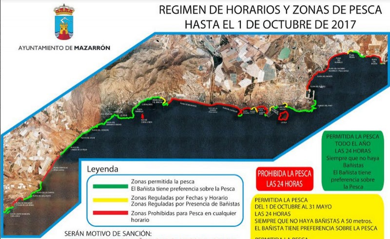 Mazarrón beach fishing restrictions in force until October