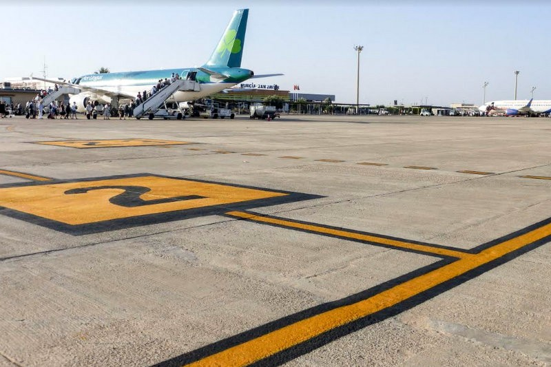 Repainting at Murcia San Javier airport shows Aena has no plans to move anywhere at the moment