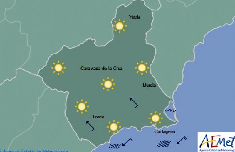 Clear skies and warm sunshine all over Murcia
