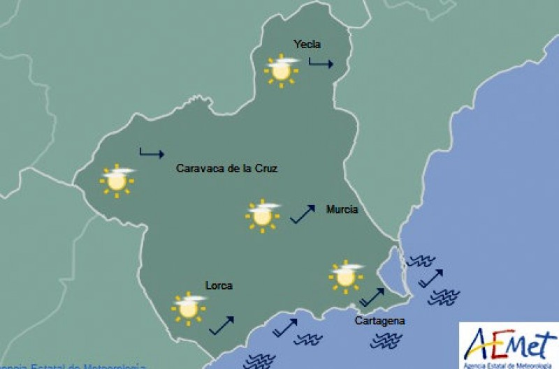 More sun on the way as temperatures rise again in inland Murcia on Thursday