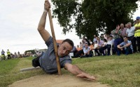 Spectacular action at the traditional shepherd pole vaulting championship