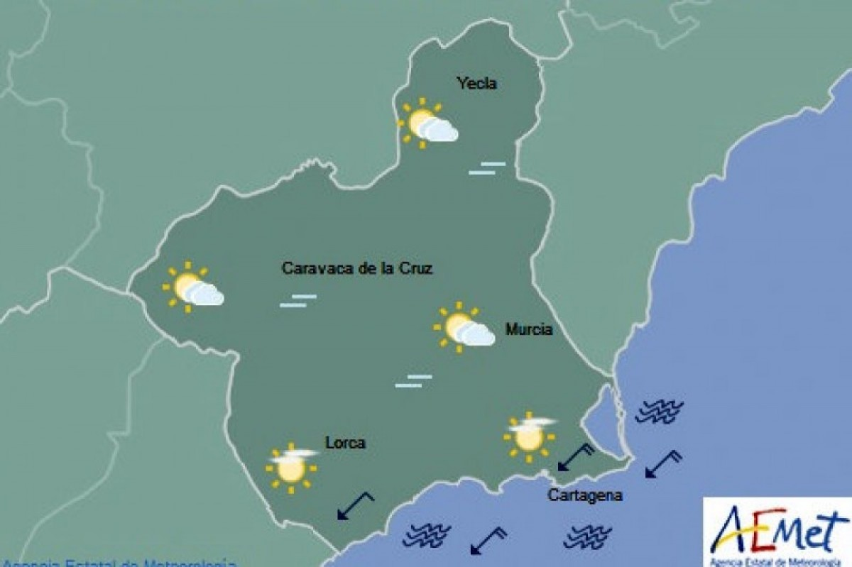 Light cloud forecast on Thursday in Murcia as maximums remain in the high 20s