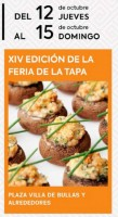 12th to 15th October the XIV Feria de la Tapa in Bullas