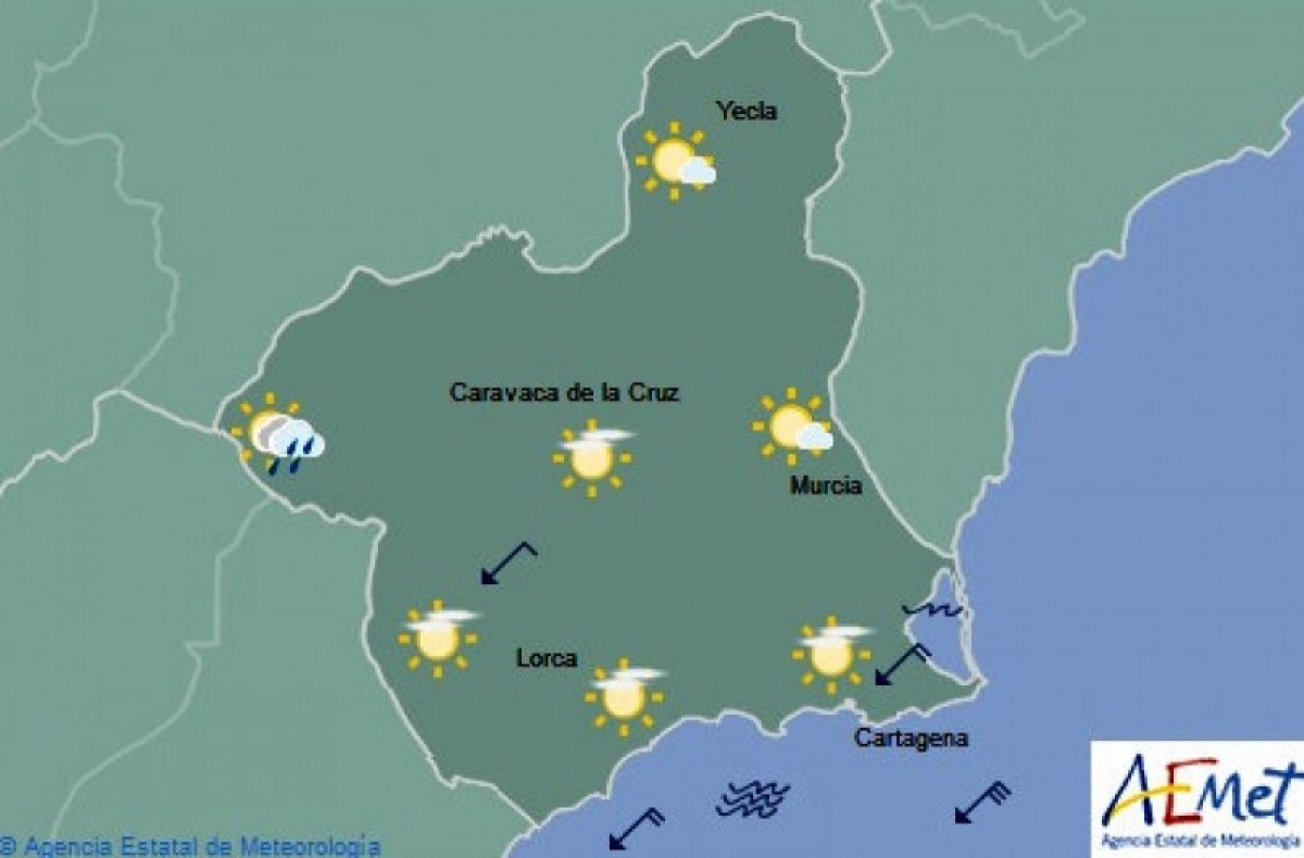 Milder temperatures and an outside chance of rain in the Costa Cálida on Friday