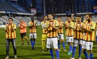 Football referee shows the red card to pro-Catalan referendum shirts in Lleida