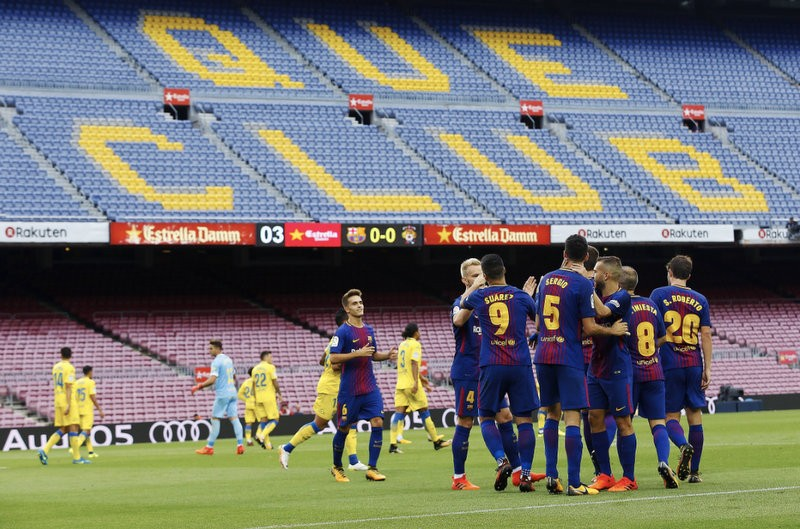 FC Barcelona play behind closed doors to protest at police action against the referendum