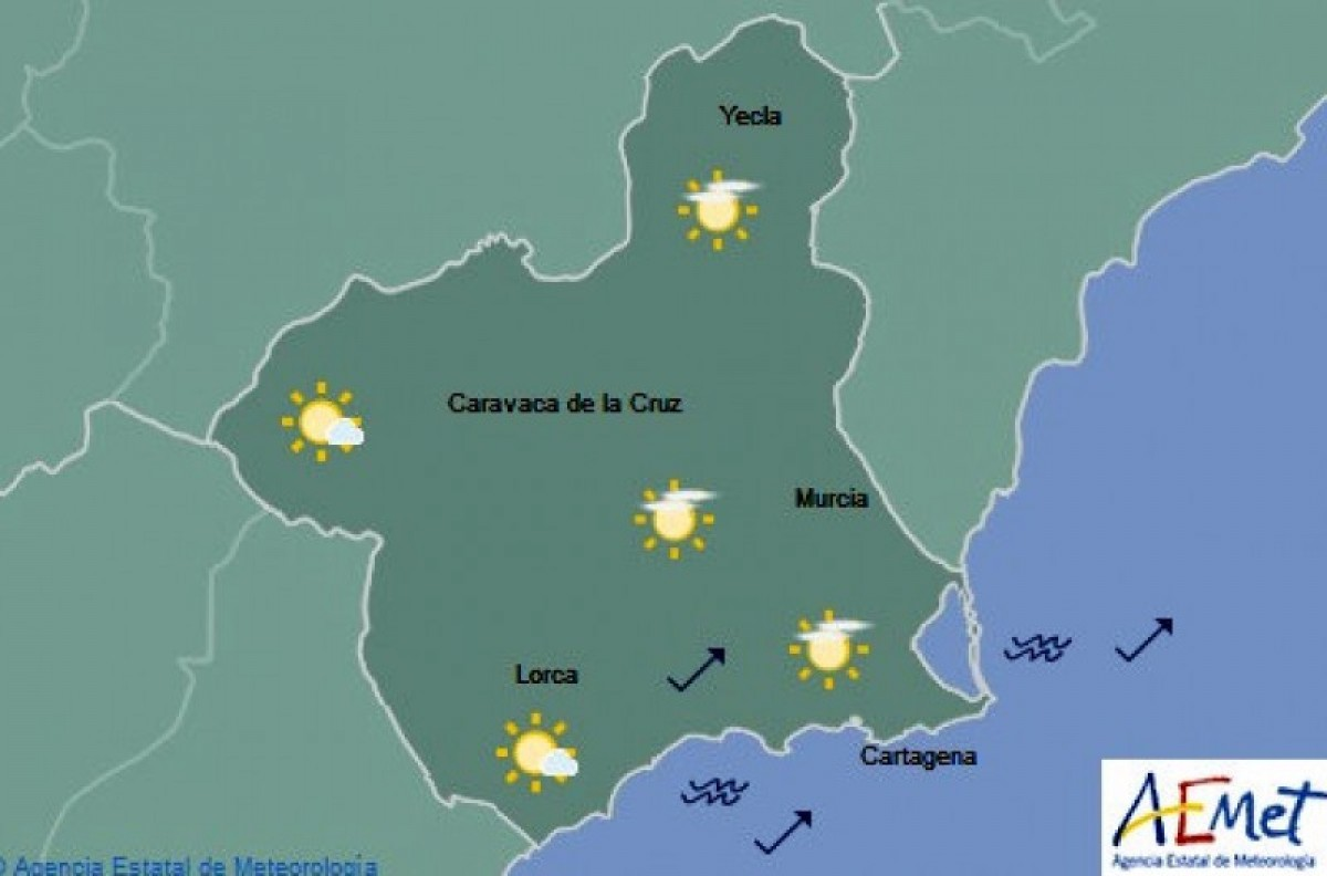 Clear skies to return to Murcia on Friday
