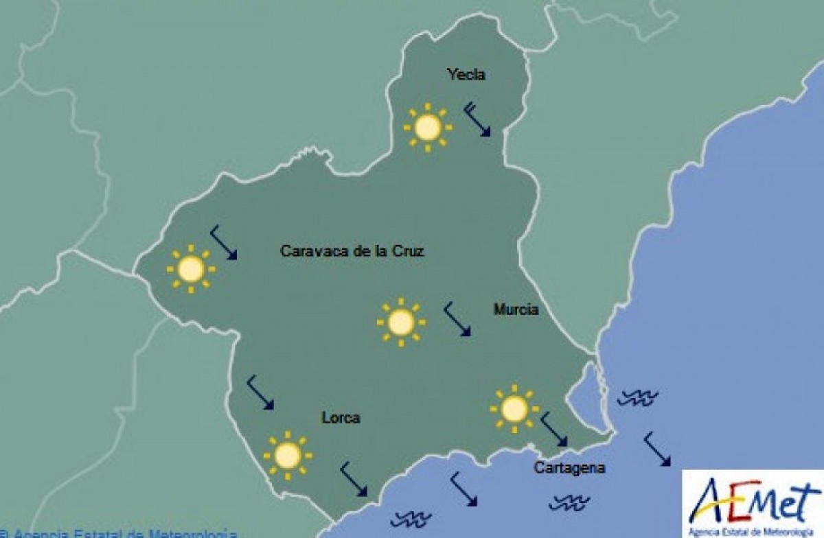 Temperatures back up to 30 on Saturday in Murcia!