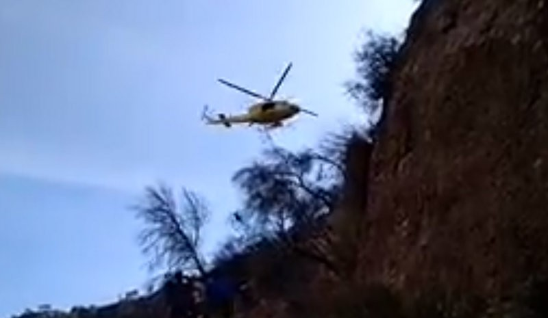 <span style='color:#780948'>ARCHIVED</span> - Dramatic helicopter rescue of injured walker in the Cañón de Almadenes