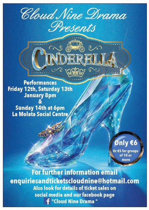 12th,13th and 14th January Cloud Nine pantomime Cinderella