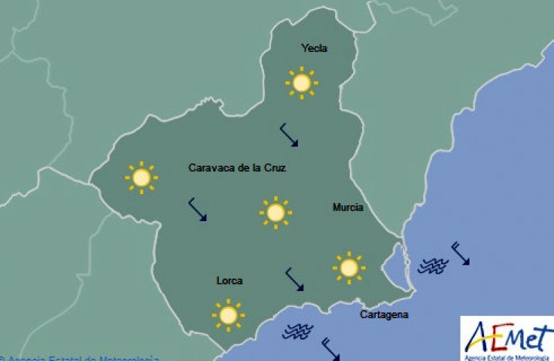Murcia braced for temperature drop on Tuesday