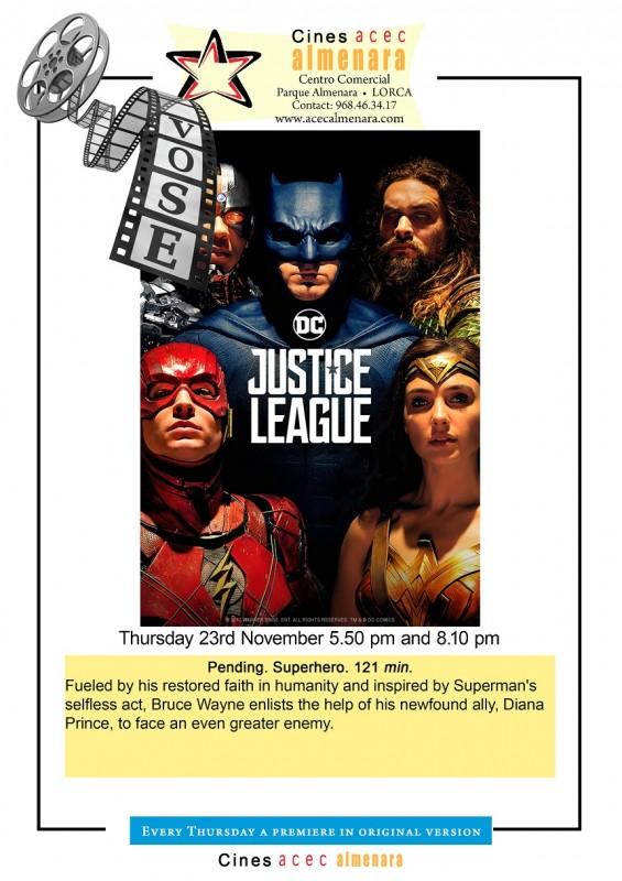 23rd November: English language cinema at the Parque Almenara in Lorca: Justice League