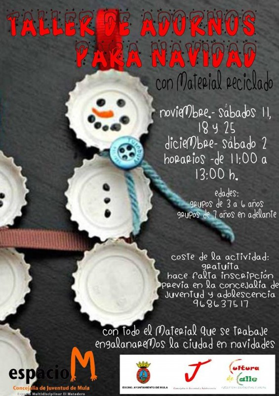 18th, 25th November and 2nd December; make your own Xmas decs in Mula