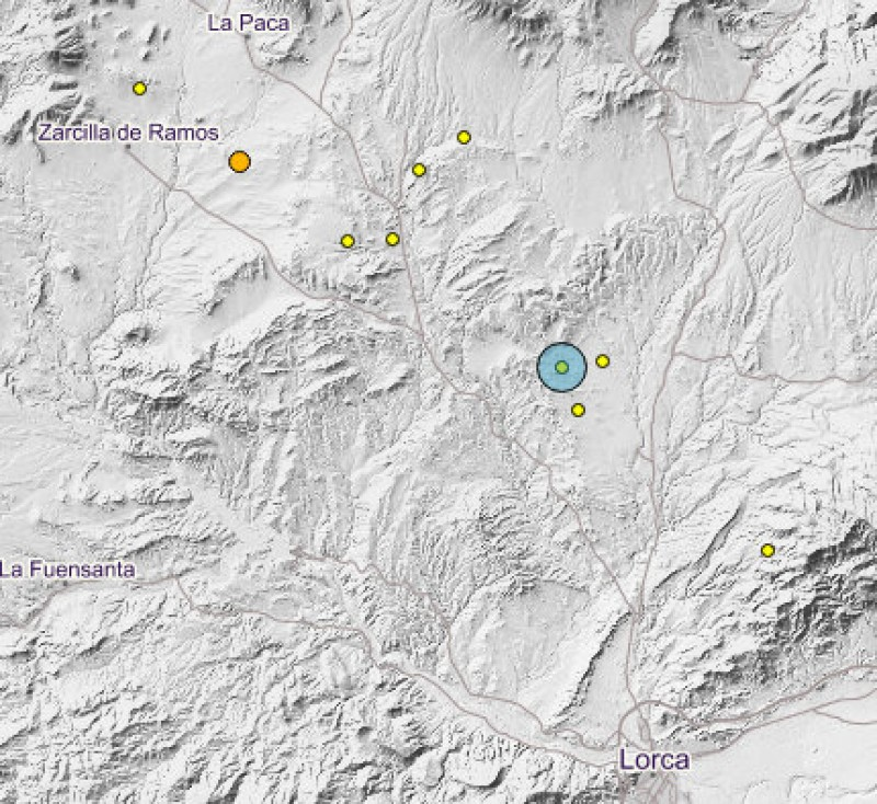 Minor seismic tremor to the north of Lorca