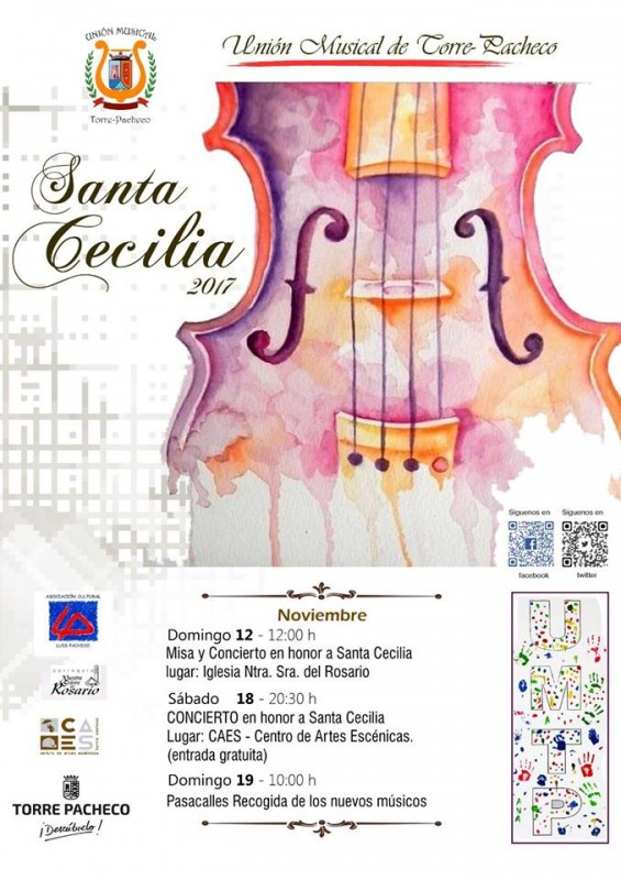 18th November free entry concert for Saint Cecilia in Torre Pacheco
