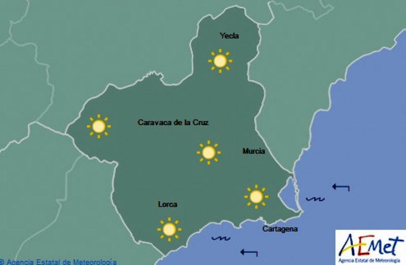 Weekend weather in the Costa Cálida: sunny skies and temperatures nudging 20