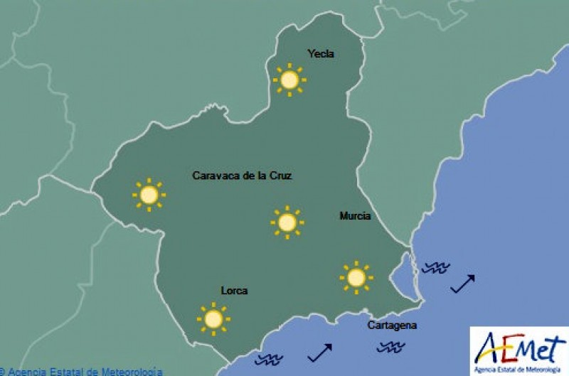 Map Of Yecla Spain.Murcia Today Tuesday Weather In The Costa Calida Minimums Of Zero
