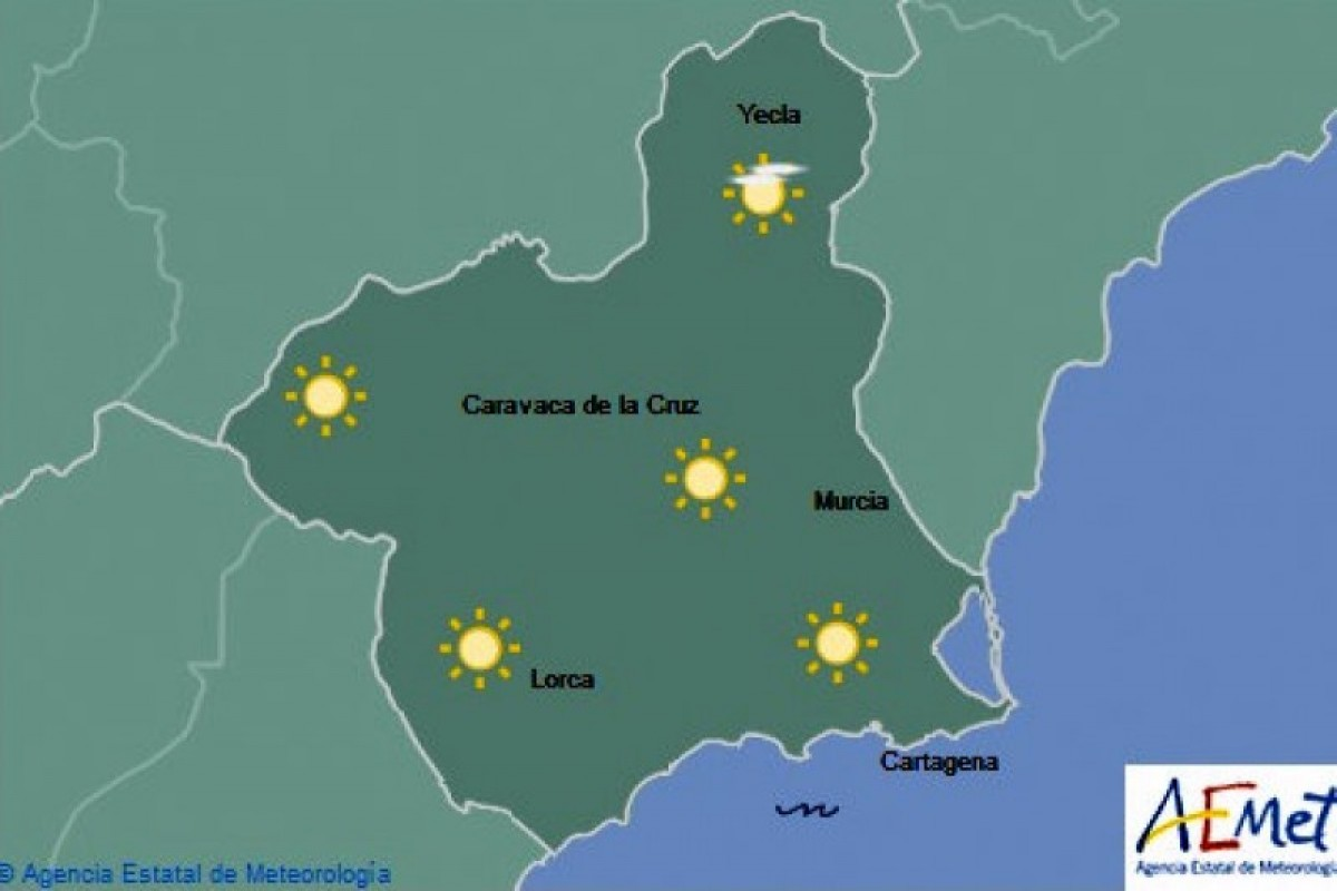 Temperatures up to 25 as the sky remains clear in the Costa Cálida