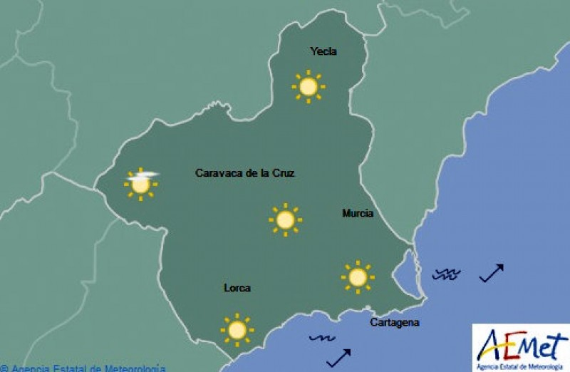 Temperatures back up to 27 on Thursday in Murcia!