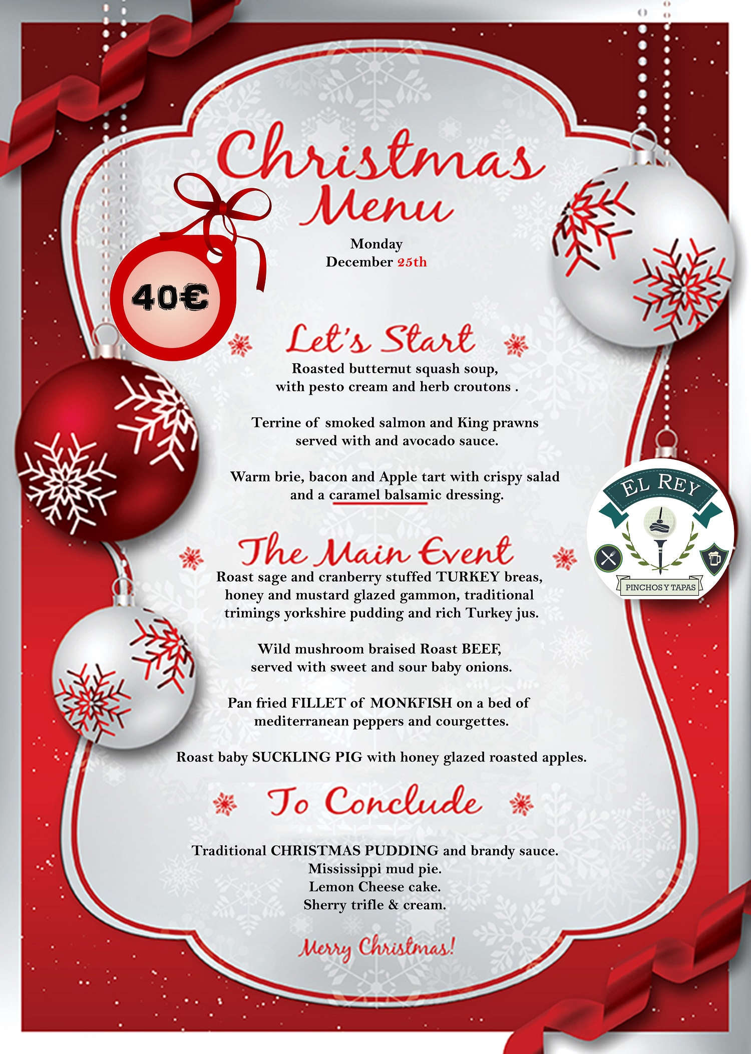 25th december christmas lunch and live music at el rey restobar balsicas