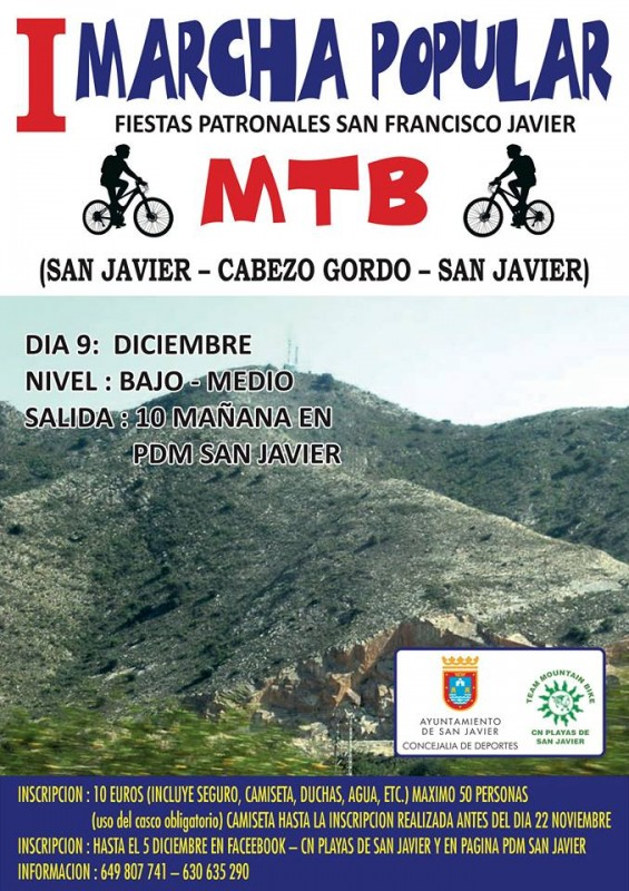 9th December Mountain bike excursion leaving from San Javier