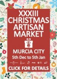 To 5th January the Christmas Artisan Fair in Murcia City offers 74 stands of hand-made goods