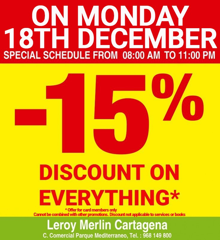Murcia Today - Get 15% Off Everything At Leroy Merlin Cartagena On ...