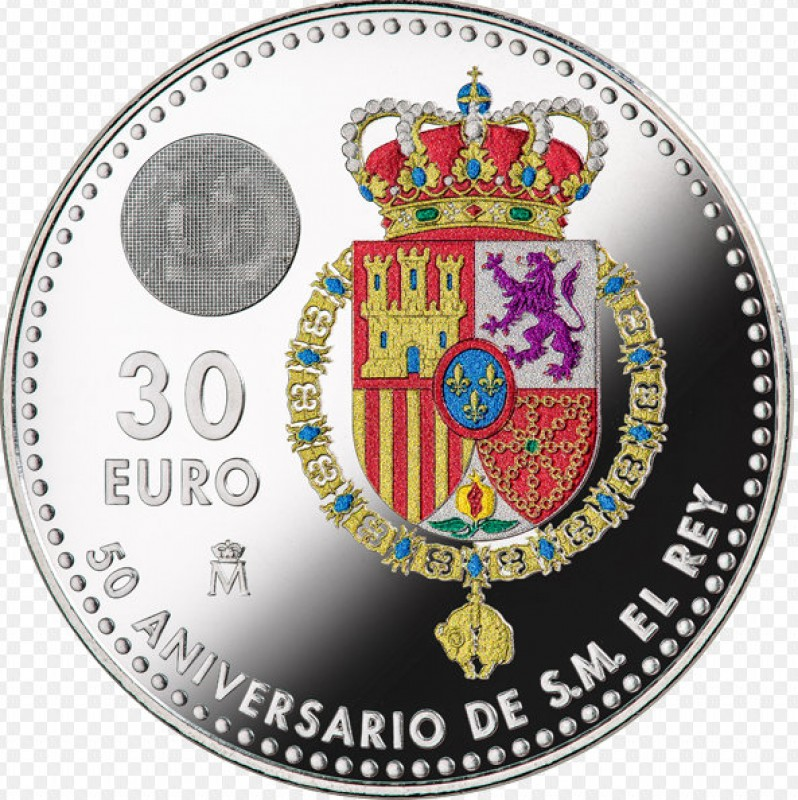 <span style='color:#780948'>ARCHIVED</span> - Coloured 30-euro coins for the King of Spain's 50th birthday