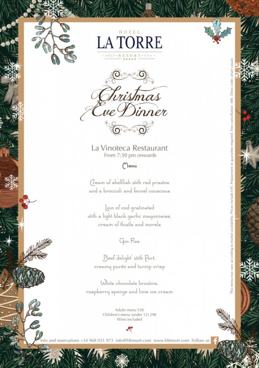 Christmas Eve dinner at the 5-star Hotel La Torre Golf Resort and Spa