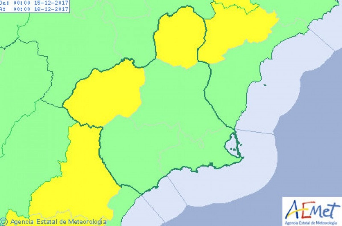 Warming up briefly in Murcia on Friday but yellow wind alerts in the north and north-west