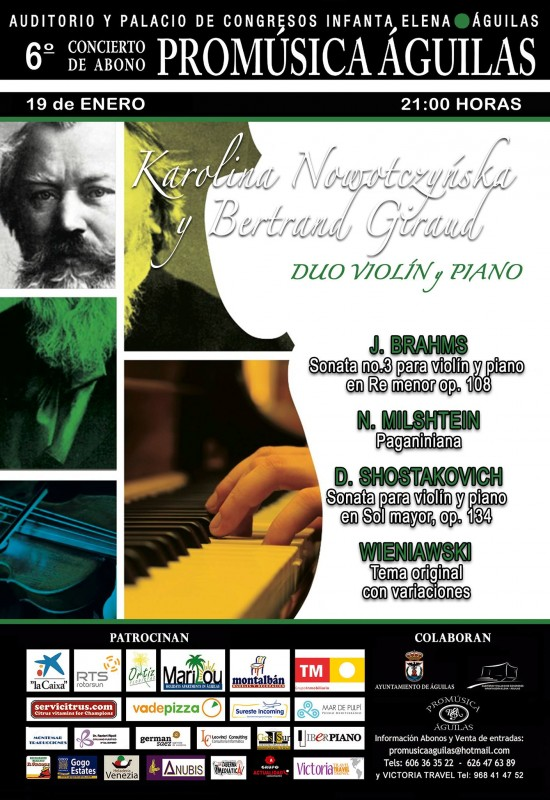 19th January: Piano and violin soloists in the Águilas Pro-music January concert
