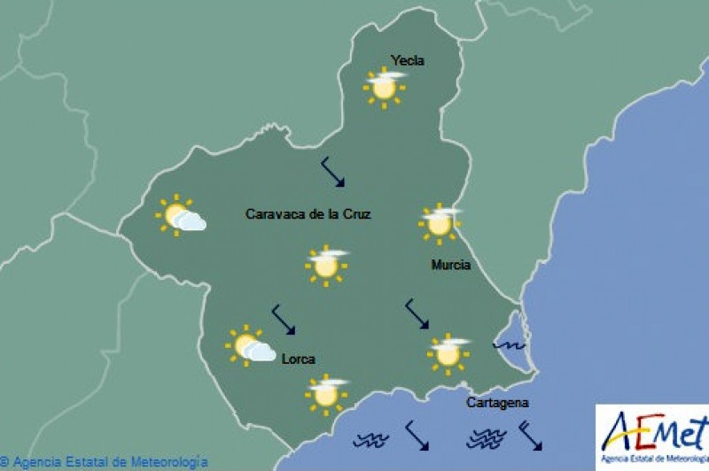 Friday weather in Murcia: clear sky in the morning, clouding over somewhat later