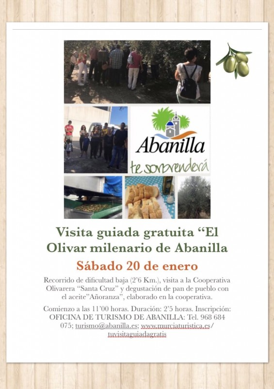 20th January Abanilla: Free guided tour of Abanilla olive mill and the Abanilla countryside