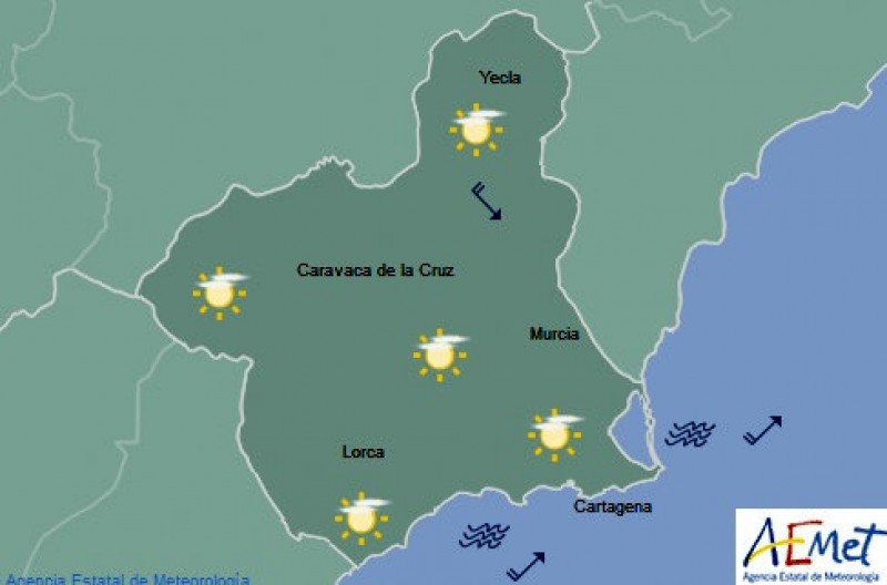 Warm weekend weather in the Costa Cálida a year after the historic snowfall of January 2017