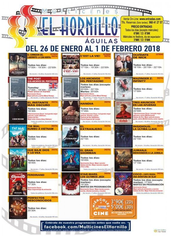 murcia today 26th january to 1st february cinema programme el hornillo guilas. Black Bedroom Furniture Sets. Home Design Ideas