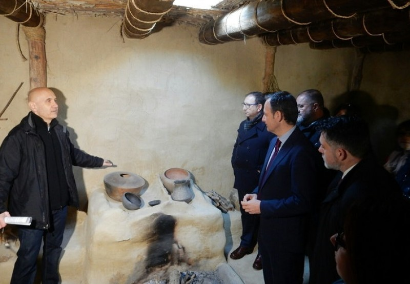 Reconstruction of Argaric dwelling presented at the La Bastida site in Totana