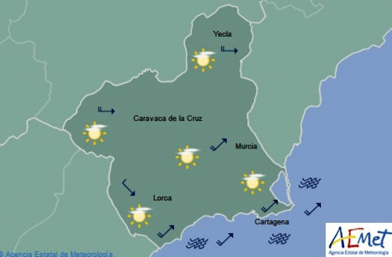Clear skies and afternoon temperatures in the mid to high teens in Murcia this Tuesday