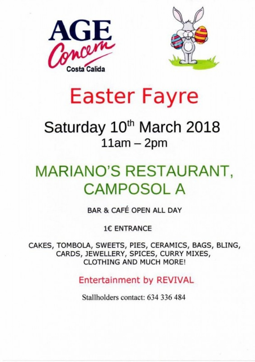 10th March Age Concern Easter Fayre at Marianos on Camposol