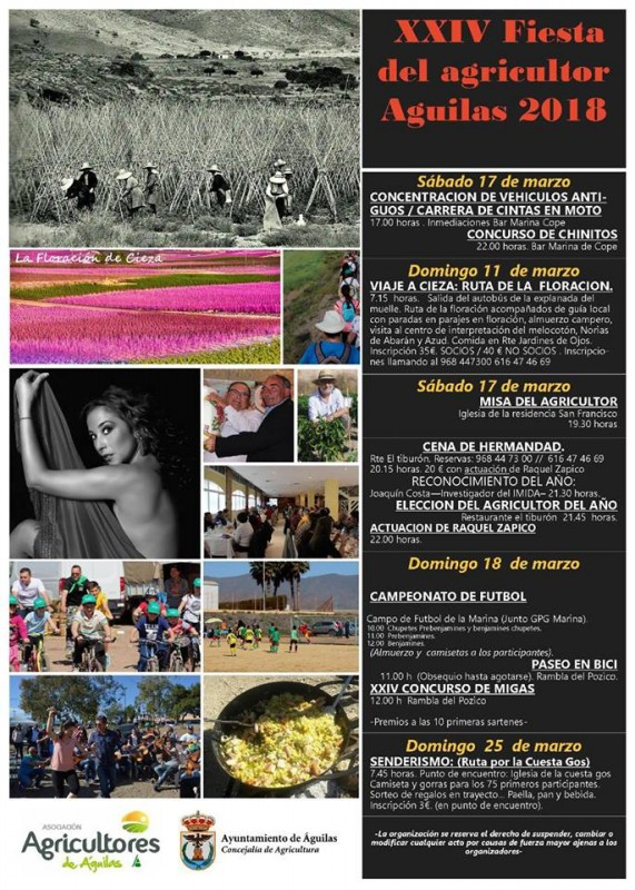 11th to 18th March Fiestas of local agriculturalists Águilas