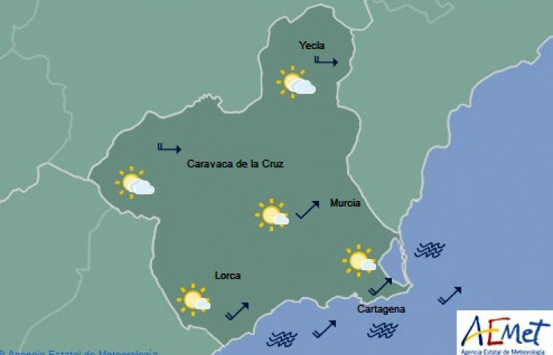 Temperatures set to hit 24 on Thursday in Murcia after a wet morning
